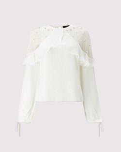 Lipsy pearl frill sleeve blouse