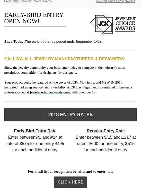 JCK: Early-bird entry: Jeweler's Choice Awards 2018   Milled