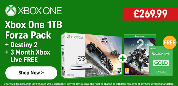 Xbox One S 1TB Forza Horizon Bundle with Free Destiny 2 and 3 Months Xbox Live