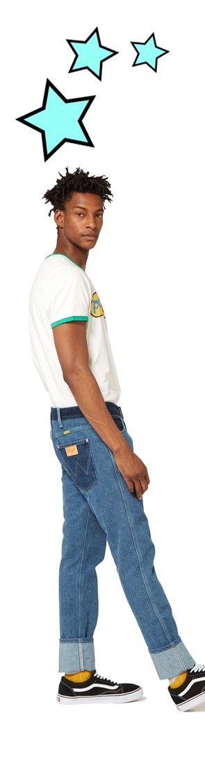 Peter Max X Wrangler Men's Pieced Denim Retro Slim Fit Jean.