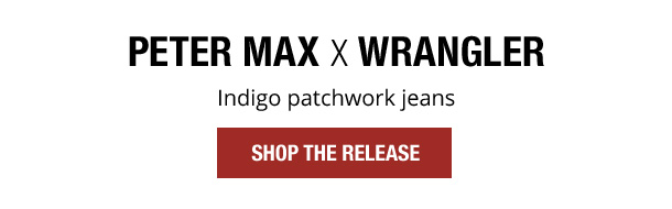 Peter Max X Wrangler. Indigo patchwork jeans. Shop The Release.