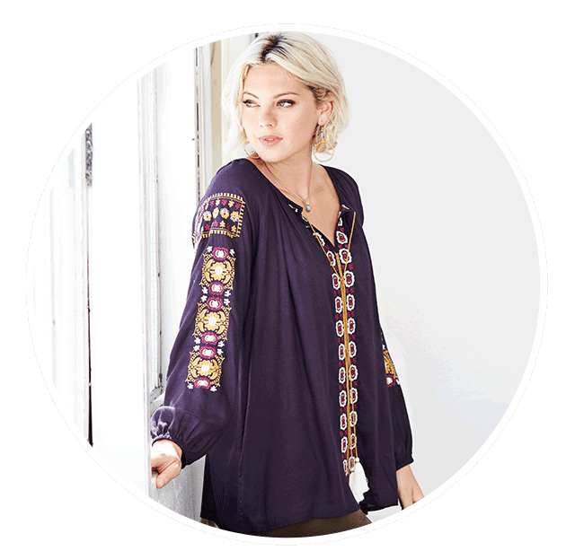 Purple Embroidered Darcy Top Sale $27.99 ›