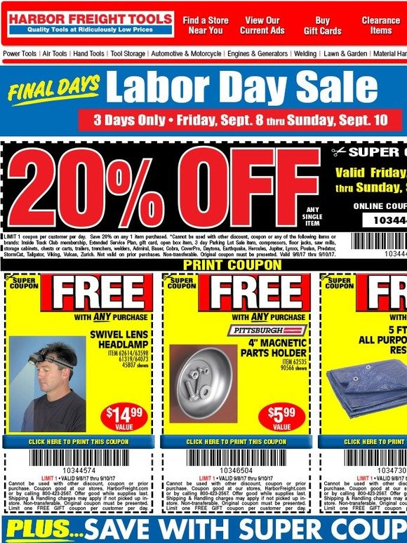 harbor freight tools  your 20  off coupon is here plus 3