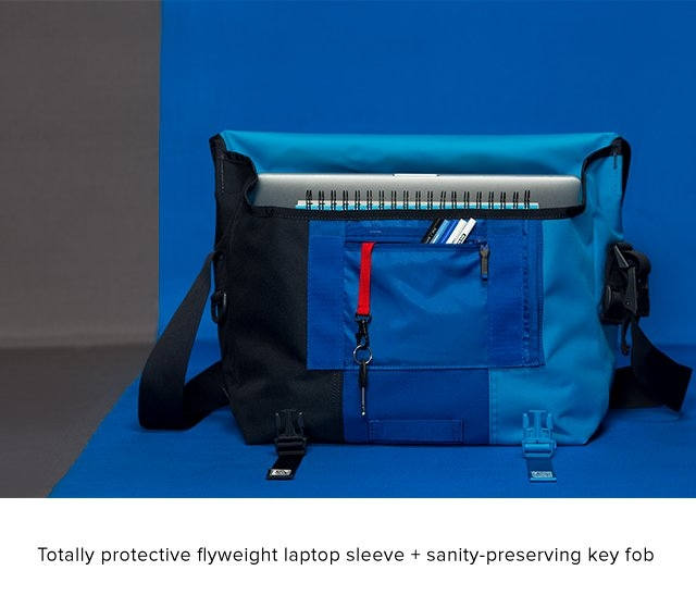 Totally protective flyweight laptop sleeve + sanity-preserving key fob