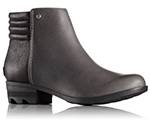 A profile view of an ankle boot with low heel.