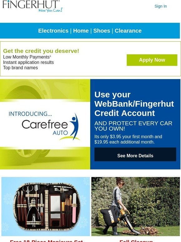 fingerhut fingerhut introducing carefree auto protect every car you own milled