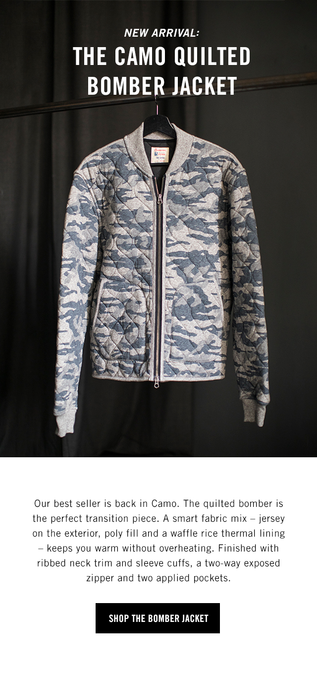 49dc4dd8b0b3f Todd Snyder: NEW | The Camo Quilted Bomber Jacket | Milled