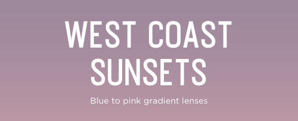Sunglasses with blue to pink gradient lenses