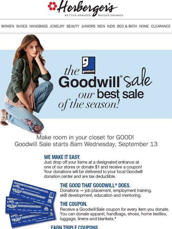 Herbergers: Goodwill Sale is Just Around the Corner ... Are YOU Ready?! |  Milled