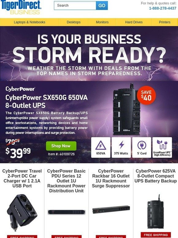 CyberPower 625VA//375Watts UPS Battery Backup with Surge Protection ****NEW****