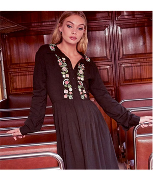 Boohoo Embroidered Shirt Dress