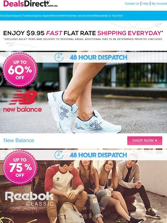 DealsDirect: New Balance 48 Hour Dispatch Up to 60% Off