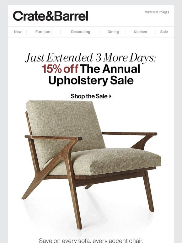 Crate And Barrel Extended The Annual Upholstery Sale Free