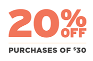 20% off Purchases of $30