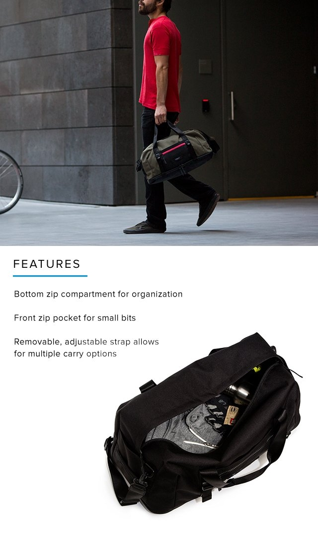 Features – Bottom zip compartment for organization | Front zip pocket for small bits | Removable, adjustable strap allows for multiple carry options