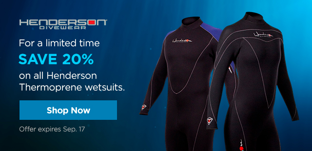 For a limited time SAVE 20% on all Henderson Thermoprene wetsuits. .