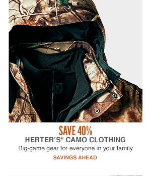 Save 40%  Herter's Camo Clothing Big Game, Men's, Women's & Youth