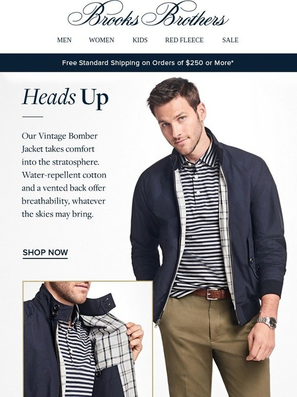 86ca1fdb5 Brooks Brothers: The Vintage Bomber Jacket: a wear-now essential ...