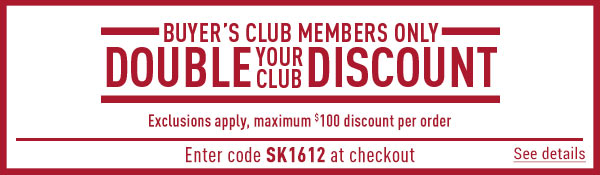 Sportsman's Guide's Buyer's Club Members Only Double Your Club Discount! Enter coupon code SK1612 at check-out. *Exclusions apply, see details.
