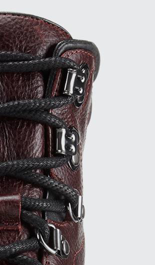 Close up of the boot laces.