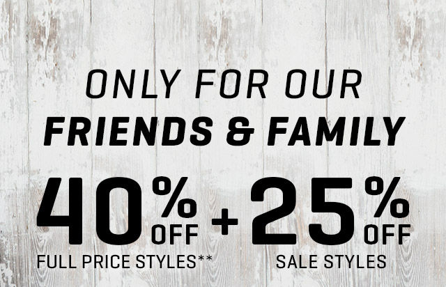 ONLY FOR OUR FRIENDS & FAMILY | 40% OFF FULL PRICE STYLES** + 25% OFF SALE STYLES | USE CODE: PUMAFAM17 | SEPTEMBER 15-19 | ONLINE ONLY