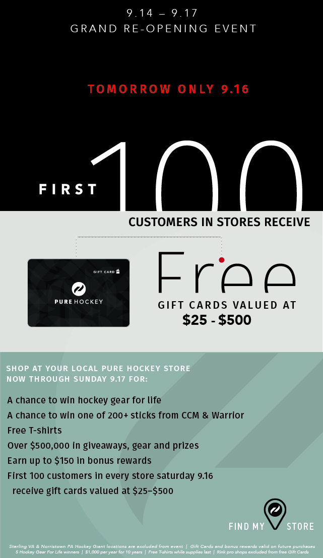Pure Hockey: Free Gift Cards & More! Grand Re-Opening Continues | Milled