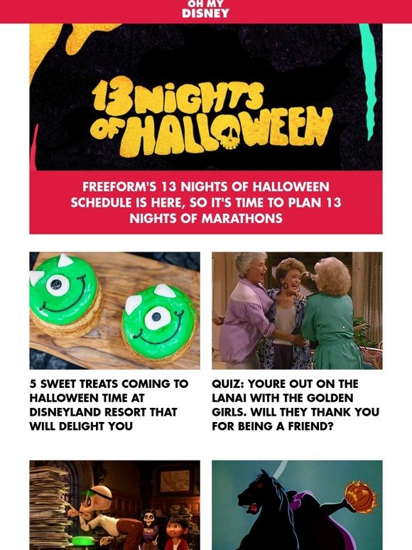 Disney Cruise Line: Freeform's 13 Nights of Halloween Schedule Is ...