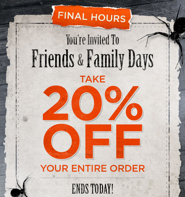 Spirit Halloween: LAST CHANCE! 20% OFF Entire Order for Friends ...