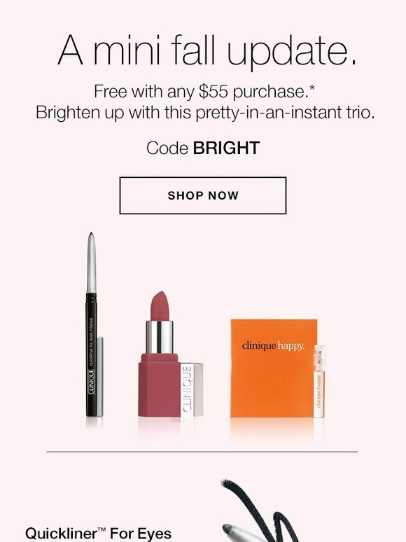 Clinique: Makeup trio + 5 FREE minis with purchase. | Milled