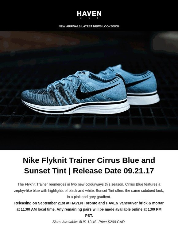 b9ae0e2175255 ... australia haven nike flyknit trainer cirrus blue and sunset tint  release date 09.21.17 milled