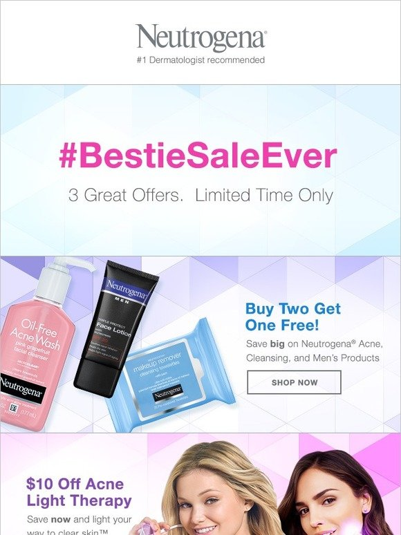 Neutrogena: It's Our #BestieSaleEver!  3 Great Offers… 3 Days Only! | Milled
