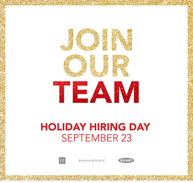 JOIN OUR TEAM | HOLIDAY HIRING DAY | SEPTEMBER 23
