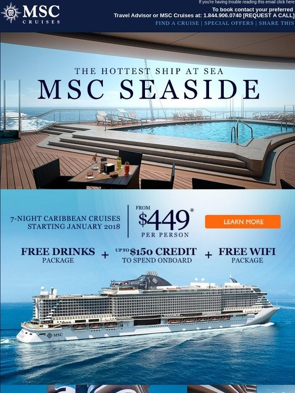 MSC Cruises: Cruise The Hottest Ship At Sea: MSC SEASIDE - from only