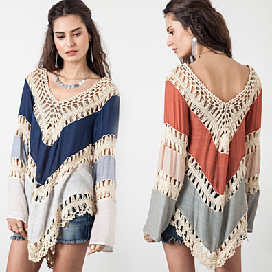 Boho Crochet Long Sleeve Top