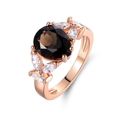 18K Rose Gold Plated Smokey...