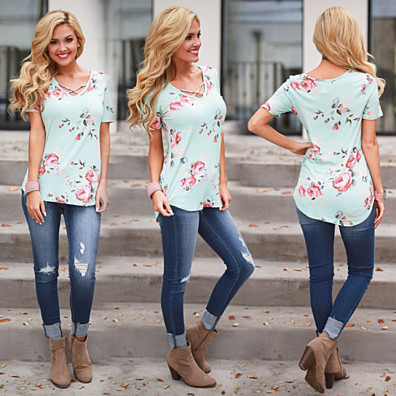 Floral Short Sleeve Top with...