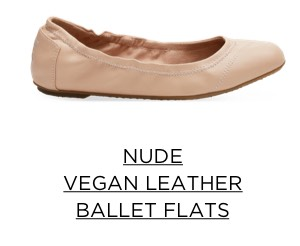 Nude Vegan Leather Ballet Flats