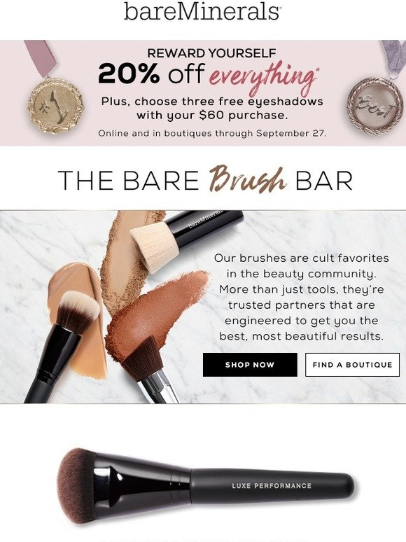 bareMinerals: Sponges down, Brushes up | 20% off | Milled