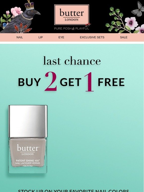Butter London: Buy 2, Get 1 Free Ends Soon | Milled