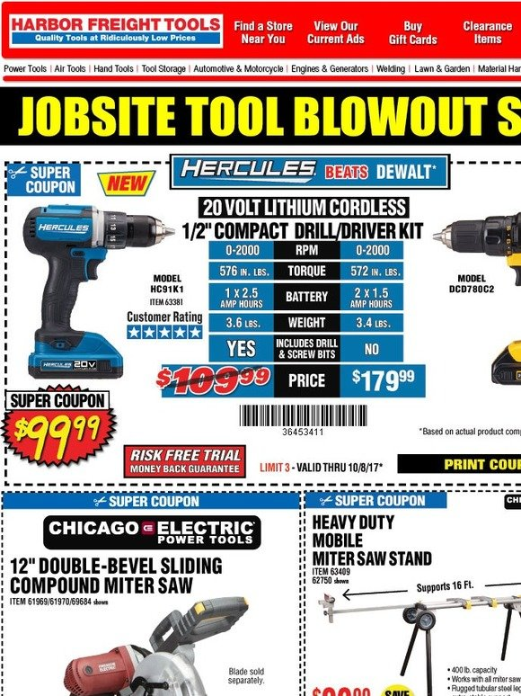 Harbor Freight: Save up to 77% with Super Coupons   Milled