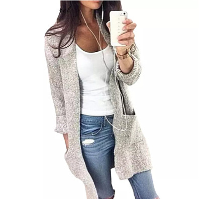 Gray Loose Warm Knitted Cardigan