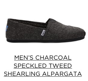 Men's Charcoal Speckled Tweed Shearling Alpargata