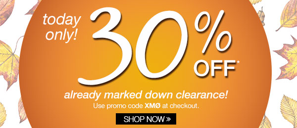 30% Off All Clearance Today Only!
