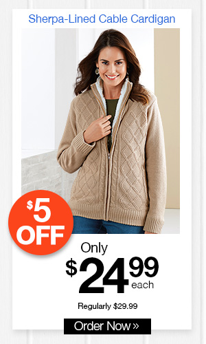 Sherpa-Lined Cable Cardigan