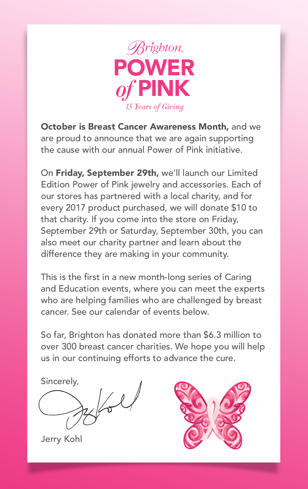 b449e6374ae Brighton Power of Pink - fifteen years of giving - October is Breast Cancer  Awareness Month