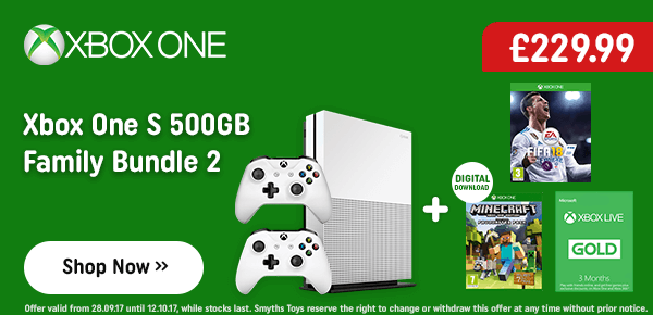 Xbox One S 500GB Minecraft Bundle with Extra Controller, 3 Months Xbox Live & FIFA 18