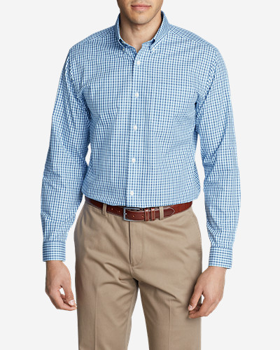 Mens Wrinkle-Free Relaxed Fit Pinpoint Oxford Shirt - Blues