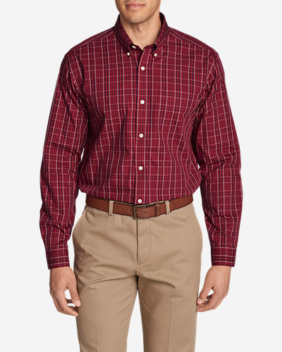 Mens Wrinkle-Free Pinpoint Oxford Relaxed Fit Long-Sleeve Shirt - Seasonal Pattern