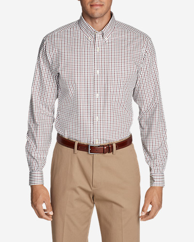 Mens Wrinkle-Free Pinpoint Oxford Classic Fit Long-Sleeve Shirt - Seasonal Pattern