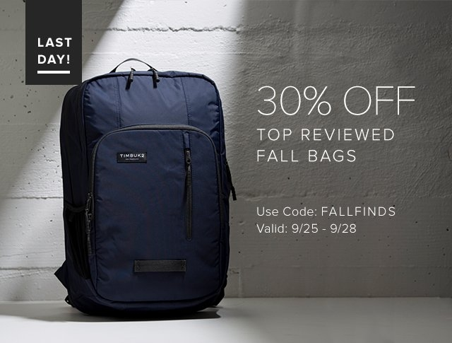 LAST DAY! | 30% OFF Top Reviewed Fall Bags | Use Code: FALLFINDS | Valid: 9/22 - 9/24